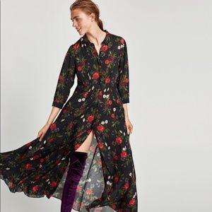 NWT Zara Floral Roses Long Maxi Shirtdress - M